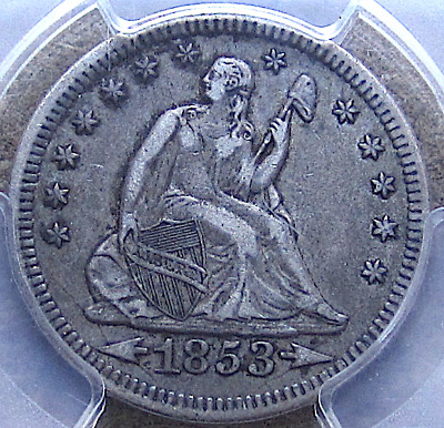 1853 Arrows/Rays Seated Quarter, Crusty Original, Die Cracks, Rev Cud, PCGS VF35