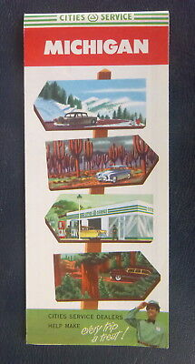 1954 Michigan road map Cities Service gas