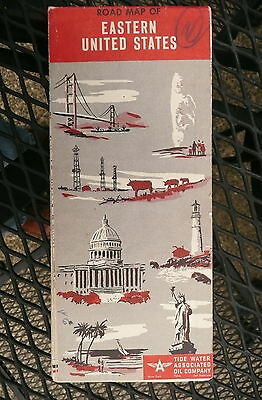 1953 Eastern United States  road map Flying A  gas oil Tidewater