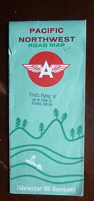 1963 Pacific Northwest  road map   Flying A  oil  gas tidewater Washington OR ID