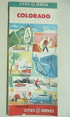 1956 Colorado  road  map Cities Service oil gas