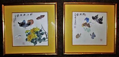 Pair of Japanese Woodblock Prints Kaleidoscope of Butterflies Gilt Bamboo Frames
