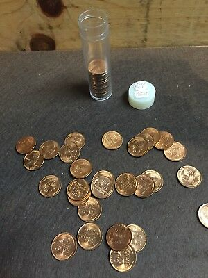 1953-D 1c Bright Uncirculated Roll Lincoln Wheat Cents.