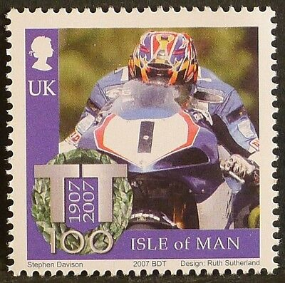 David Jefferies at Isle of Man TT Races on 2007 stamp - unmounted mint