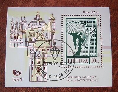 Lithuania 1994 100th Postage Stamp. MS Used