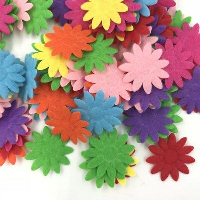 100X Mixed Colors Die Cut Felt Flower Appliques Fit Cardmaking decoration 24mm