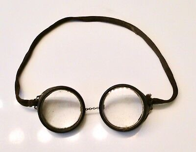 Vintage Antique DRIVING GOGGLES Motorcycle Pilot Glasses ROUND ~STEAMPUNK