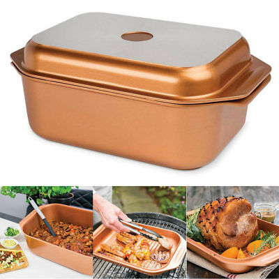 9L Large Wonder Roaster Non Stock Roasting Baking Grill Oven Cooking BBQ Pan Pot