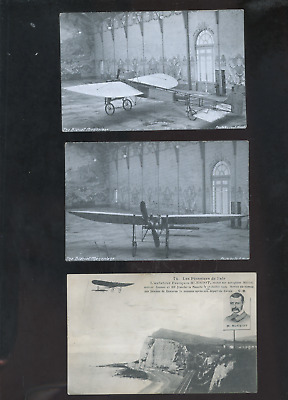 lot of 3 old Bleriot monoplane postcards,  aviation, airplane,,Tuck,  France