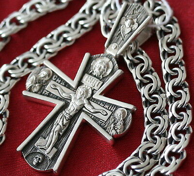 Men Russian Orthodox Save & Protect Necklace Prayer Crucifix+ Chain Silver 925