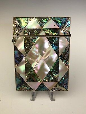 Fine Victorian Mother of Pearl and Abalone Calling Card Case Holder