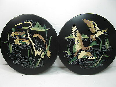 Paint By Number Metal Wall Pockets Ducks Crane Pond Scene Vintage
