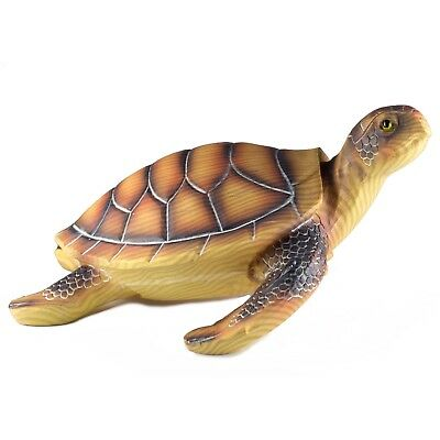 "Large Brown Sea Turtle Faux Carved Wood Look Figurine Resin 10.5"" Long New!"