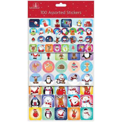 JUST 75p! CHRISTMAS FUN STICKERS X 6 SETS,  (100 PER PACK) 8877