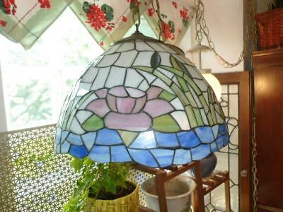 "Vintage Stained Glass 11.5"" X 16.75"" Water Lily Flower Hanging Ceiling Light"