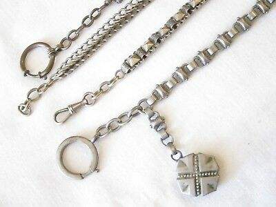 Antique French Silver Plated Pocket Watch Alberts x 4