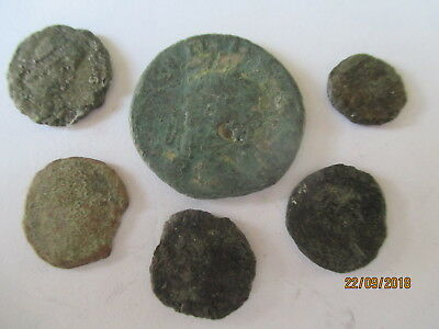 6 X  Geniune Ancient Roman Bronze Coins Worn Unidentified And Unresearched