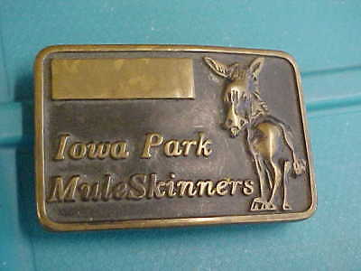 Vintage Solid Brass Rare Old Iowa Park Texas Mule Skinners Western Belt Buckle
