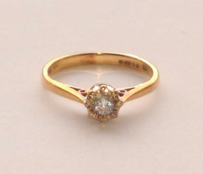 Superb Beautiful Simple Antique Old Vintage Diamond Solitaire Gold Ring