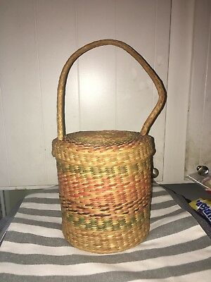 Vintage Woven Basket hand made 6' across Depth 7' With Lid Attached To Handle