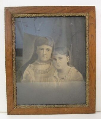 Antique Framed Charcoal Drawing of 2 Grumpy Sisters in Dressing Gowns & Pearls