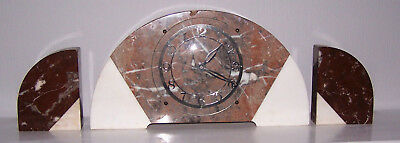1920s/30s Art Deco Marble Clock Set Pink/Rouge/Red & White Marble