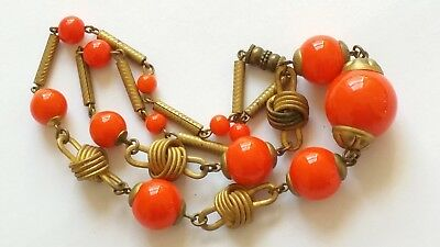 Czech Antique Art Deco Linked Tangerine Glass Bead Necklace
