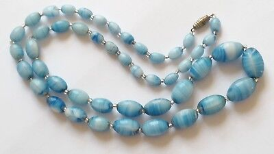 Czech Vintage Art Deco Long Swirled Blue Graduated Glass Bead Necklace