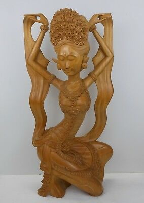 Vintage Bali/Indonesian Indo Chinese Hand Carving Wood Sculpture Dewi Ratih