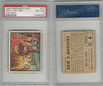 1950 Topps, Freedoms War, #10 Fight For Time, Korea, PSA 6 EXMT