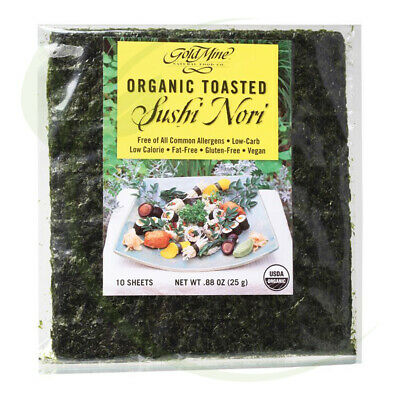 Gold Mine Organic Toasted Sushi Nori (Pack of 10 Sheets) 25g