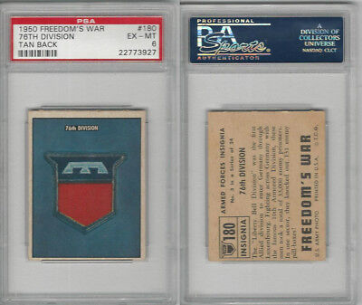 1950 Topps, Freedoms War, #180 76th Division, PSA 6 EXMT