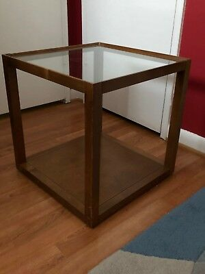 walnut finish glass top mimic crate barrel side end table - Crate And Barrel End Tables