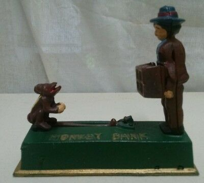 """Antique Reproduction Mechanical Monkey Bank 7.5"""" X 7.5"""" Works Great Bank"""