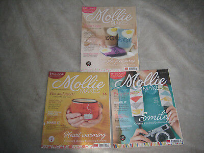 Lot of 3 Mollie Makes Magazines #7 #12 #17- Making Thrifting Crafting Collecting