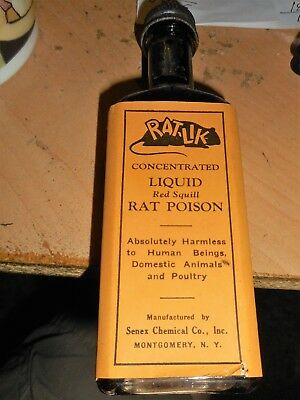 "C. 1920's ""RAT-LIK"" Liquid Red Quill RAT POISON, Senex Chem.l Co., MONTGOMERY,NY"