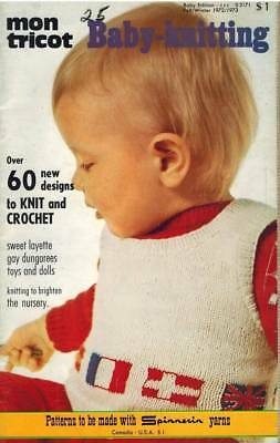 60+ Knit Crochet PATTERNS for Baby Vintage 1972 Mon Tricot Sweater Doll Layettes