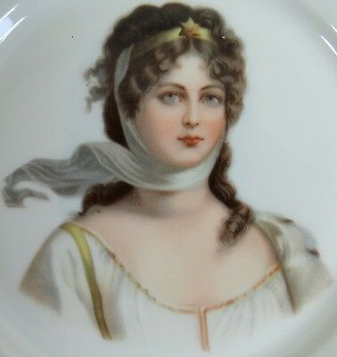 Victorian Lady Plate Antique Vtg 1890s to 1900s Stunning Star Crown Art Nouveau