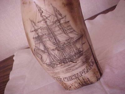"SCRIMSHAW Replica Faux Resin Whale Tooth Chesapeake Ship James Lawrence 6"" Large"
