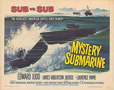 MYSTERY SUBMARINE original WW2 22x28 movie poster BRITISH NAVY/GERMAN SUBMARINE