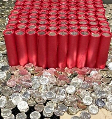 Ultra Rare Red Bu Dime Roll Vintage Silver Coins Collection Money Us Wheat Cents