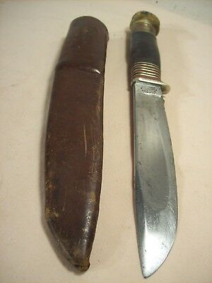 1900's~ALFRED WILLIAMS~EBRO~SHEFFIELD~ANTIQUE STAG POMMEL HUNTING KNIFE w/SHEATH