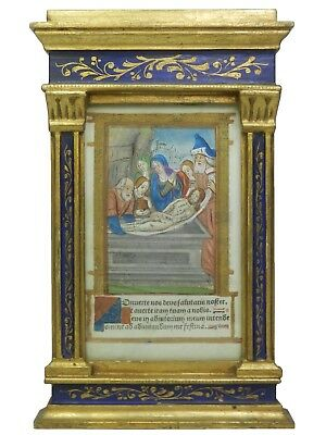 TABERNACLE FRAME WITH ILLUMINATED MINIATURE - C1510 Printed Book Of Hours Leaf