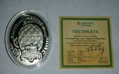 2010 Niue Island Imperial Faberge Eggs Silver Proof Coin with COA 925 Silver