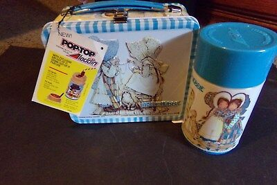 Vintage Holly Hobbie Metal Lunch Box Aladdin w Tag Thermos Unused Double Side 79