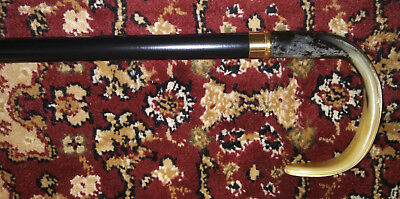 NEW! Men's Flat Nose Genuine Horn Handle on Solid Ebony Wood Shaft Walking Cane