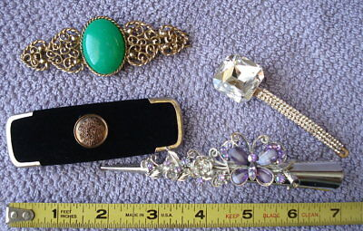 Vtg Barrette Hairclip Hair Accesory Clips Lot -Paris -Philips -Rhinestones