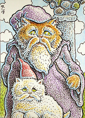 ACEO Original Fantasy Wizard Cat and his Kitten Apprentice