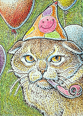 ACEO Original Fantasy Life of the Party  (Cat)
