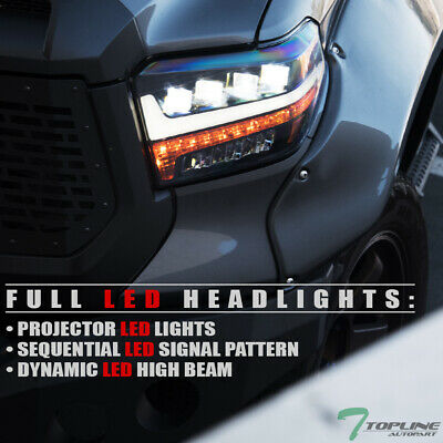 Topline Full LED Sequential Projector Headlights (Black) For 14-17 Toyota Tundra